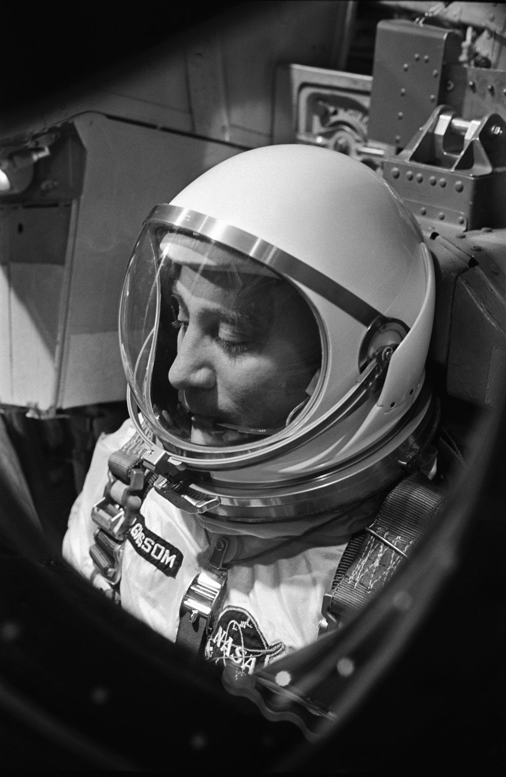 Astronaut Virgil I. Grissom is shown through the window of the open hatch on the Gemini spacecraft the morning of the launch. CAPE KENNEDY, FL.jpg
