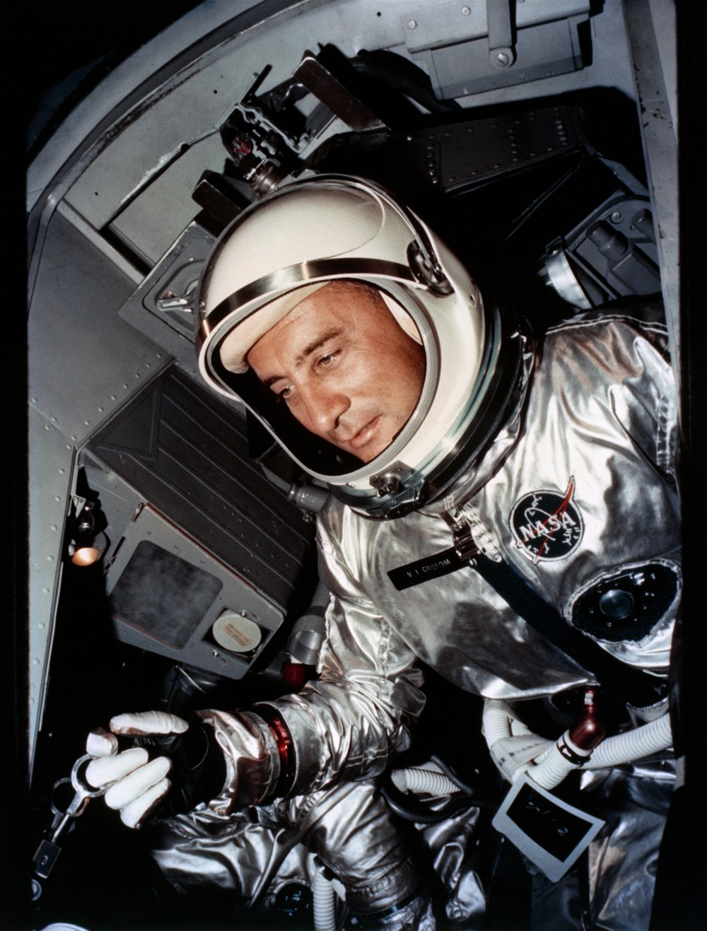 Astronaut Grissom is shown in the Gemini-3 spacecraft