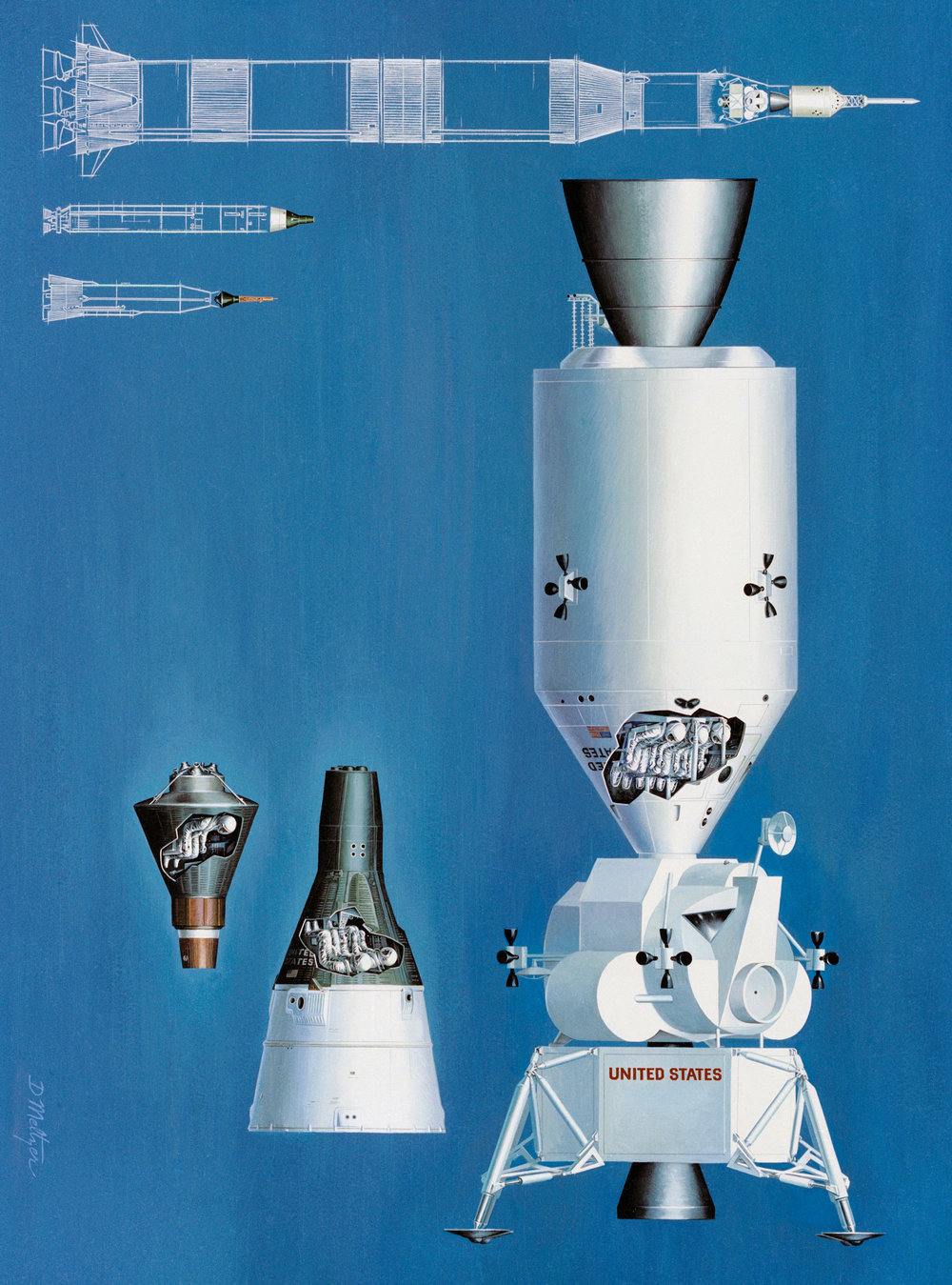 An Artist Concept illustrating the comparative sizes of the Mercury, Gemini and Apollo Spacecraft and their launch vehicles. MSC, HOUSTON, TX