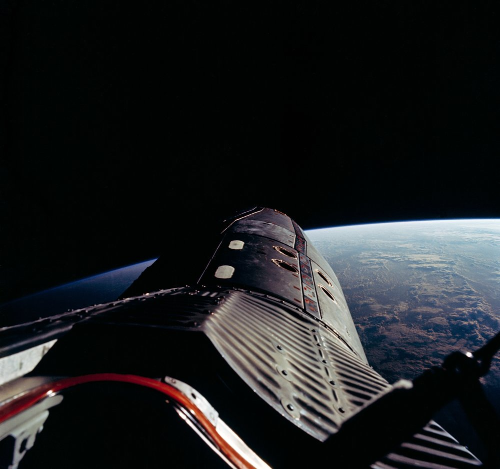 Photograph of standup Extravehicular Activity EVA; nose of spacecraft and velcro pads; taken during the Gemini XII mission.  1966