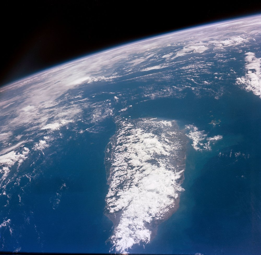 Photograph of Taiwan looking south taken during the Gemini X mission on orbit no. 34. GET time was 55 05 - GMT time was 5 38.