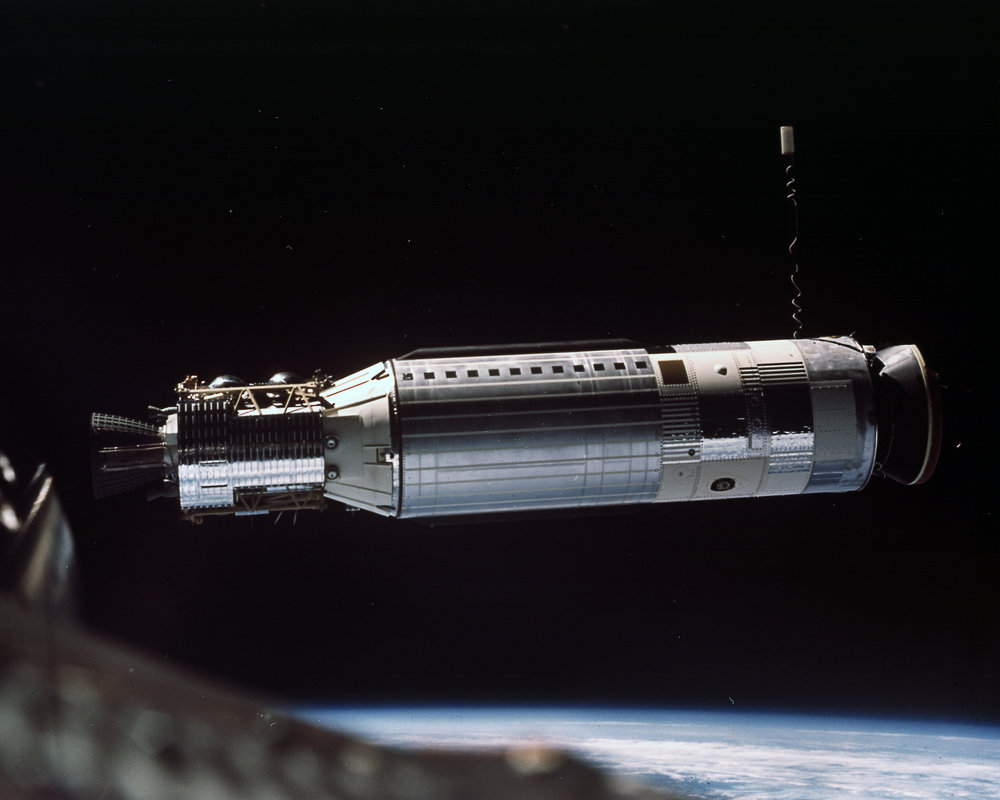 Side view photograph of entire Agena at 45 feet; good stereo with frame no.13; off west coast of Mexico taken during the Gemini VIII mission 1966