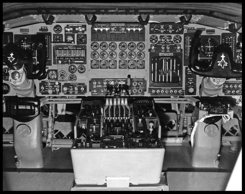 Above- Photo of the XB-70 #1 cockpit, which shows the complexity of this mid-1960s research aircraft.