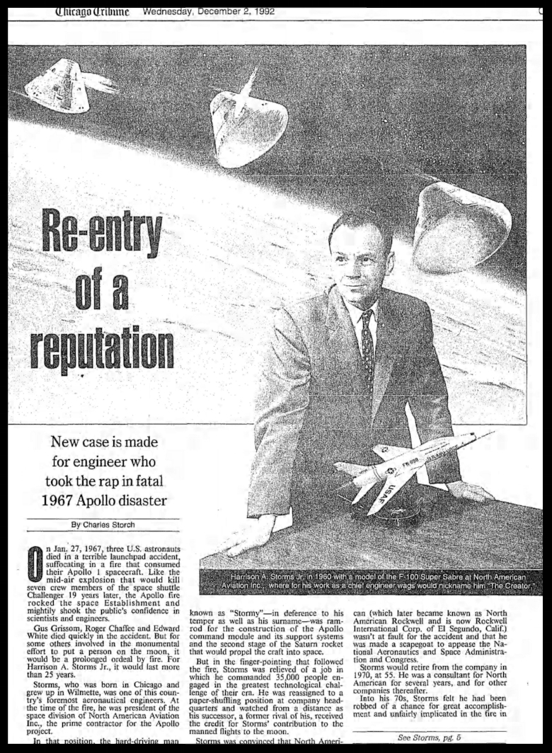 """Re-entry of a reputation"". Chicago Tribune Tempo Section December 1992"