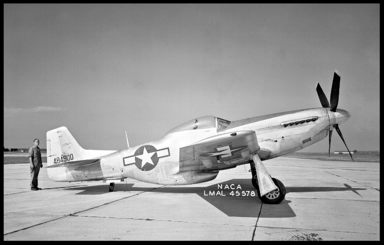 North American P-51D Mustang The clean lines of the North American P-51D Mustang are apparent in this side view 1949.jpg