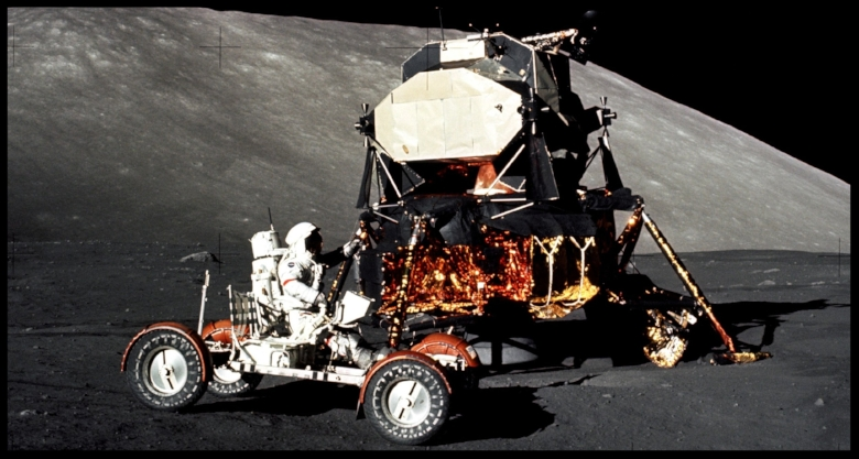 Apollo 17 Mission Commander Eugene Cernan Drives Lunar Roving Vehicle   NASA