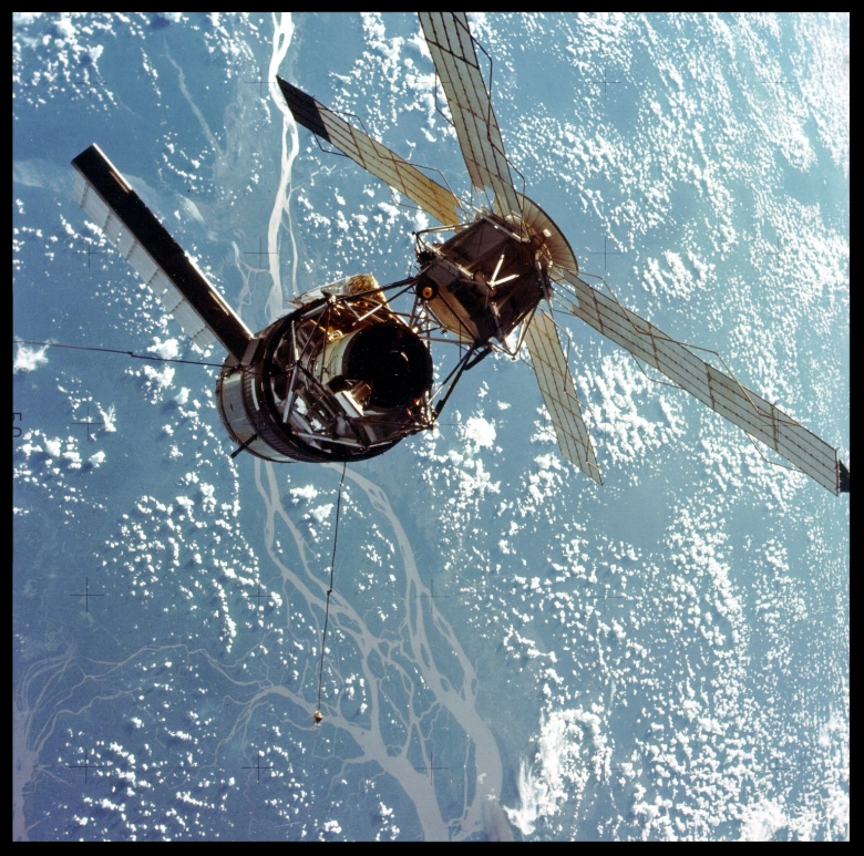 A closeup view of the Skylab space station photographed against an Earth background from the Skylab 3 Command-Service Module  1973. NASA