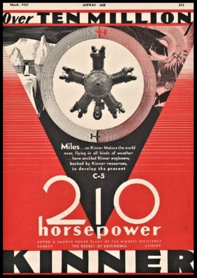 Above- Kinner 210 Horsepower Engine ad