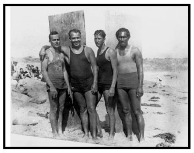 Above- Four of the rescuers pose for an image just days after saving many lives off the shore in Corona del Mar. From left to right: Gerry Vultee, Owen Hale, Bill Herwig and Duke Kahanamoku. OC Register