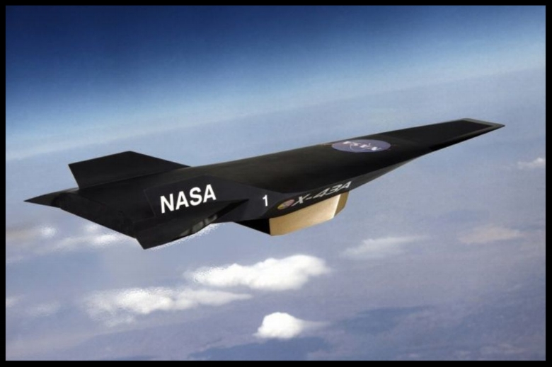 The+X-43a+hypersonic+scramjet+test+vehicle+flew+at+Mach+9.8.+It+was+3+metres+long+and+was+accelerated+by+a+Pegasus+rocket+to+Mach+5+before+release+to+be+accelerated+by+its+scramjet+engine+to+Mach+9.8.jpg