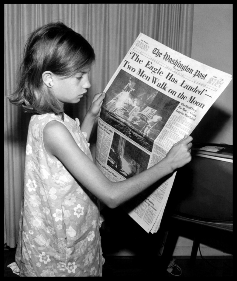 Land on the Moon 7-21-1969  'The Eagle Has Landed' proclaims the front page of The Washington Post on July 21, 1969. Photograph taken by Jack Weir of his daughter.