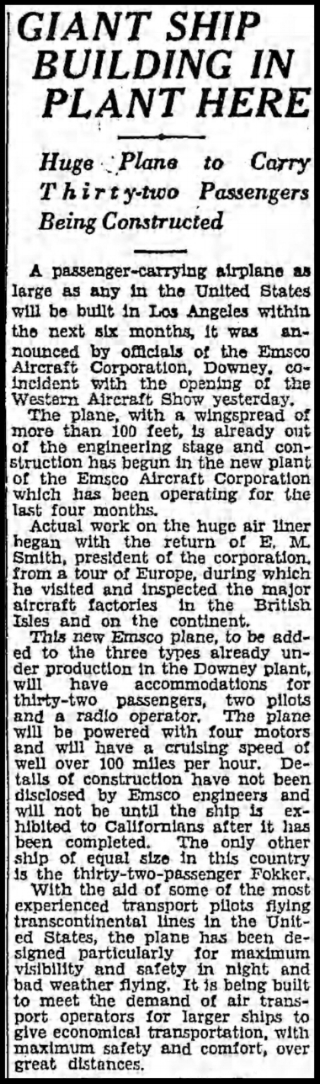 The Los Angeles Times Sun, Nov. 10, 1929 EMSCO plant opens in Downey, CA.
