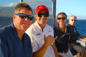 Captain Gabe, guests and crew enjoying the sunset and whale watching on 12/6/15. PC: Ananda Stone