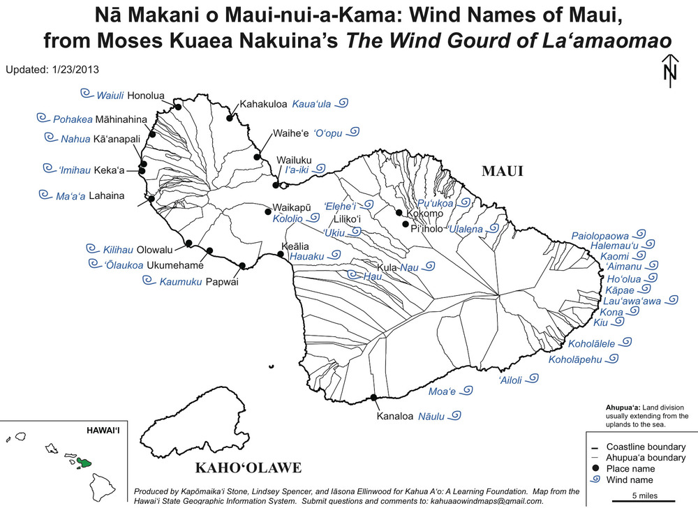 Map of the winds on Maui
