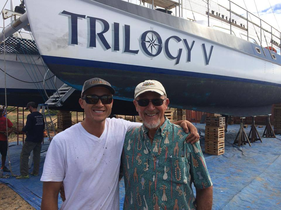 Jim and Riley Coon at dry dock in 2014.