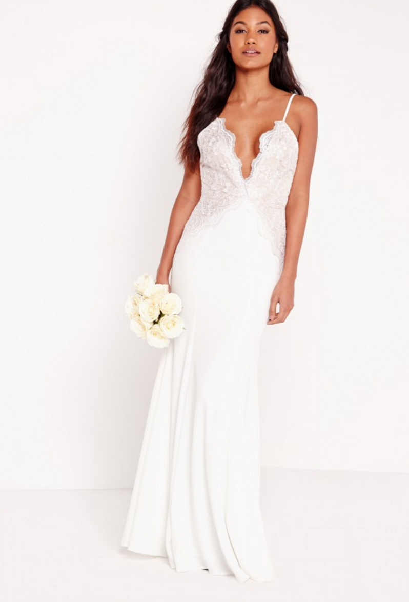 Bridal Scallop Lace Cami Maxi Dress, White- $170 from Miss Guided