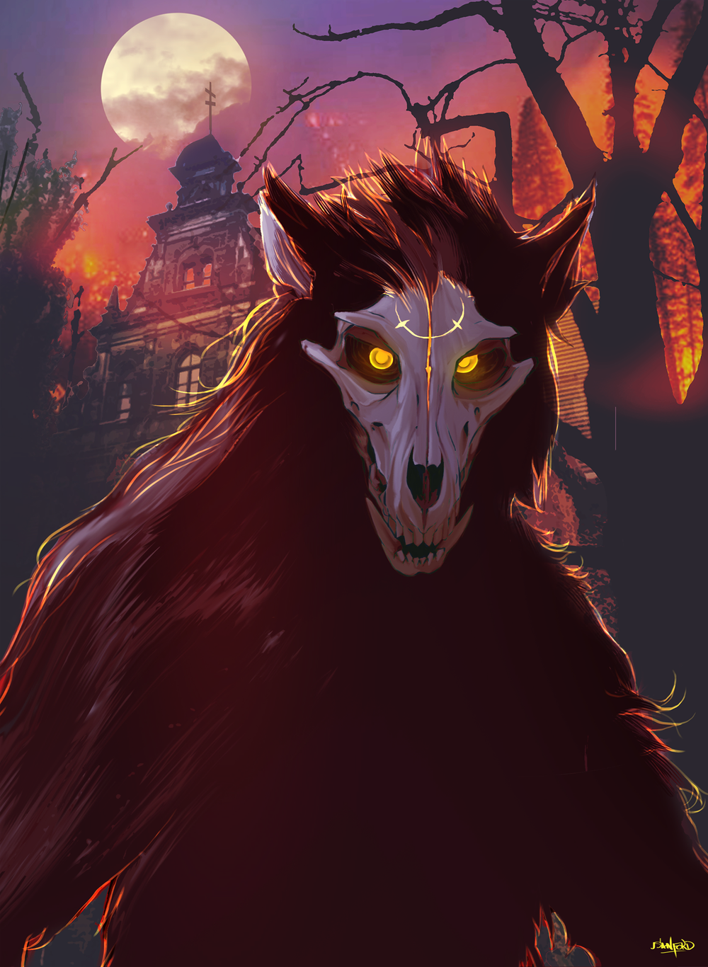 Werewolf card with red / yellow lighting.