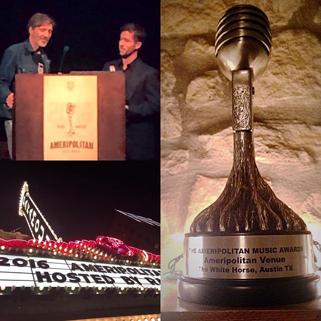 Congrats to Palomino Shakedown's Howdy Darrell and all at @whitehorseatx for winning best venue at the #AmeripolitanAwards last night. Howdy keeps that place full of great music! Palomino Shakedown is proud to play a monthly residency at this hot spot! Thanks also to Denis, Marshall, and Nate!