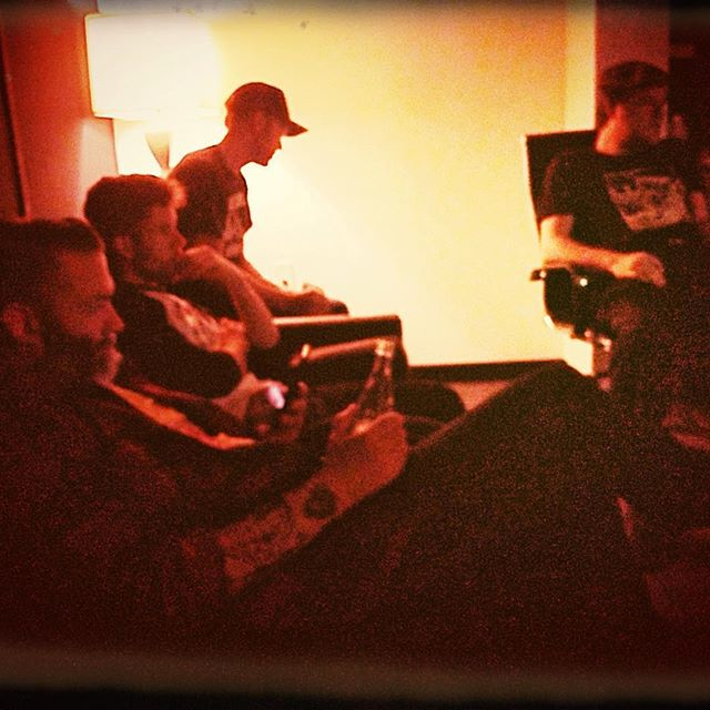 Jimmy, Howdy, Ryan, and Will listening to playback of a new track at #GerronMusic in @spaceatx for the upcoming Palomino Shakedown release @jimmy_shakedown @tastybeet