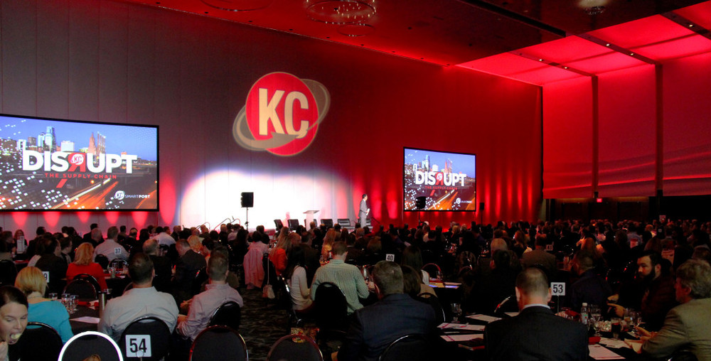 KC Smart Port President Chris Gutierrez addresses a crowd of more than 550 logistics, real estate and economic development professionals at KC SmartPort's annual industry briefing, Disrupt – The Supply Chain. Photo Credit: Kansas City Area Development Council