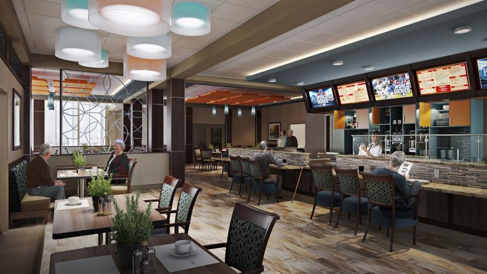 New first-floor amenities will include this bistro dining venue.