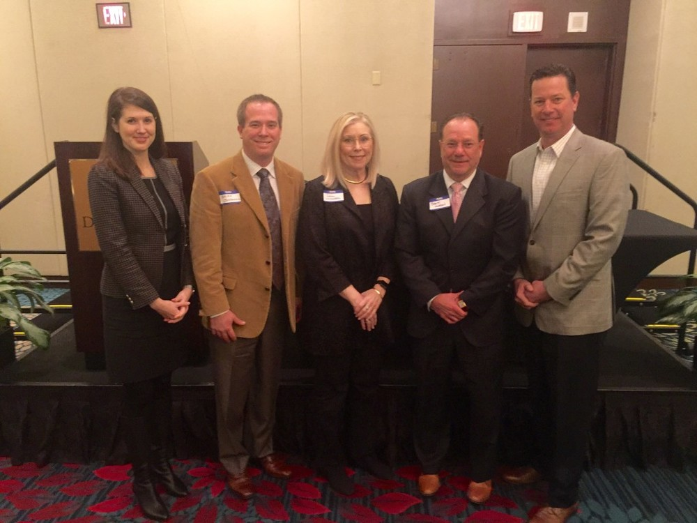 Kelly Dean of CMA; Brian Johanning, vice president at Shafer, Kline & Warren; Danni Livingston, director of planning, design and construction at Johnson County Facilities Management; Brett Gordon, president of McCownGordon Construction; and Dennis Burns, Crossland Construction.