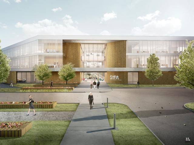 HOK is leading the design efforts for the Dairy Farmers of America's new headquarters at Village West in Kansas City, Kan. More information on that project can be found here.
