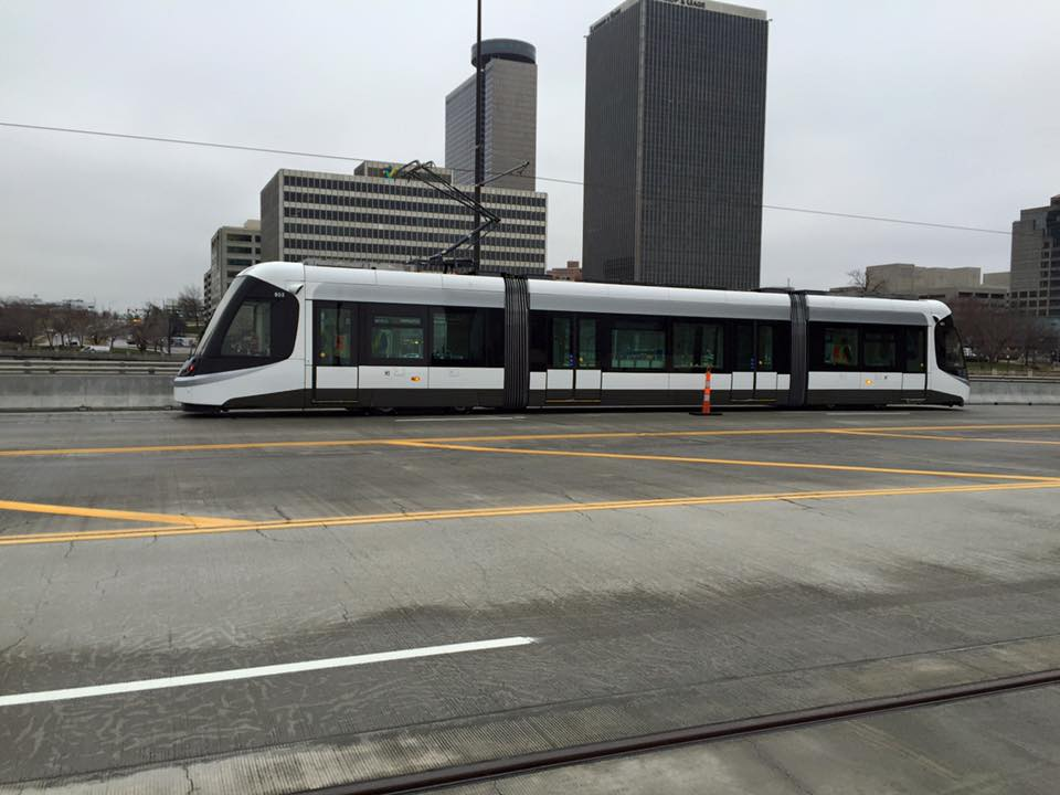 "Streetcar 801 is undergoing testing, but is performing ""flawlessly,"" Schulte said. Expect to catch a ride by April. Photo courtesy of  KC Streetcar ."