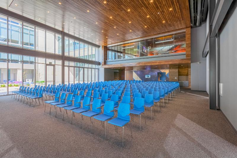 The building features this 250-seat auditorium, 60 conference rooms and four large training rooms.