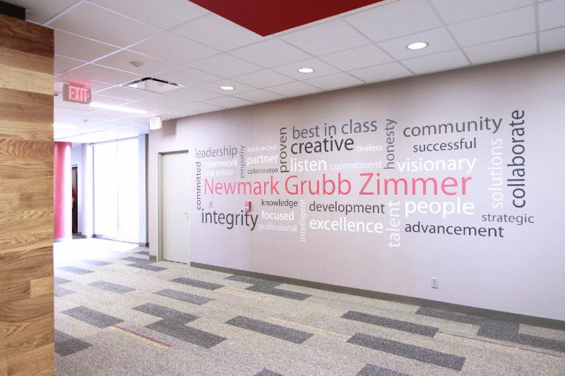 A word cloud on the office wall reminds the firm's employees and clients what it stands for.