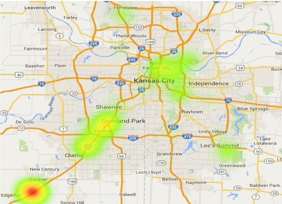 A heat map shows where industrial activity in Kansas City is hottest. See Xceligent's full industrial report by clicking here.