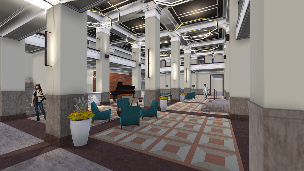 The lobby of the Pickwick will be brought back to life. Rendering courtesy of Gold Crown Properties.