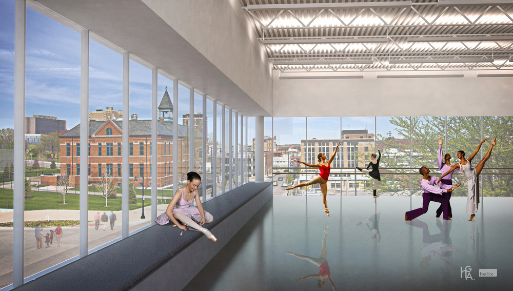 Dance studios at the future UMKC Conservatory of Music & Dance will face the Kauffman Center for the Performing Arts and have views of the Crossroads Arts District.