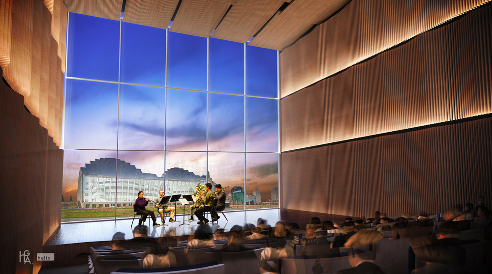 This 250-seat performance hall will be made with special soundproof glass that will still allow for a perfect view of the inspiration for the campus.