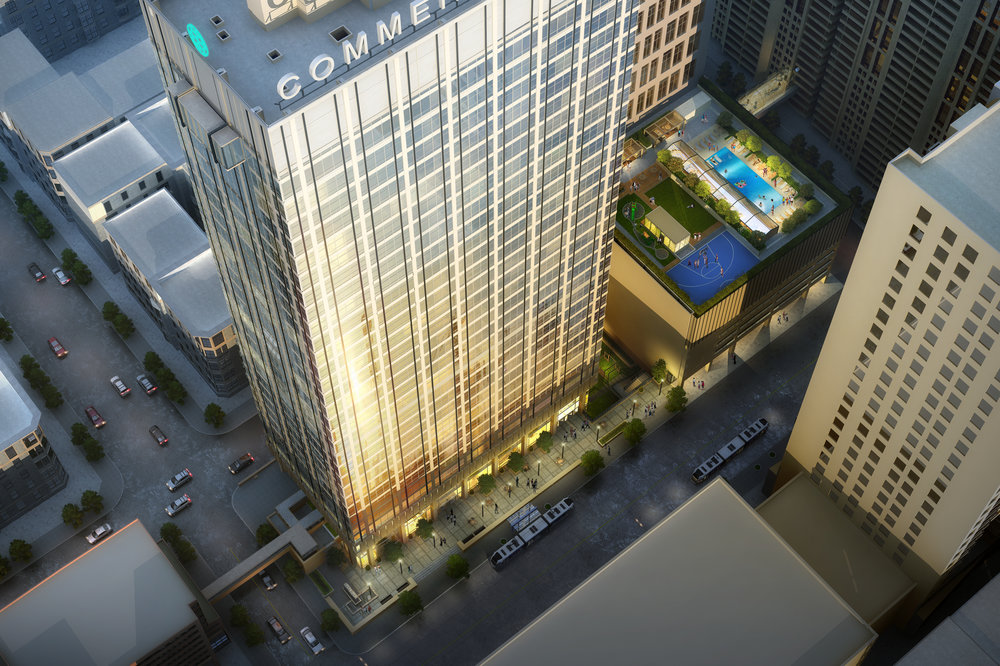 Commerce Tower has been converted into apartments alongside commercial space, coworking offices, educational tenants, among other uses.