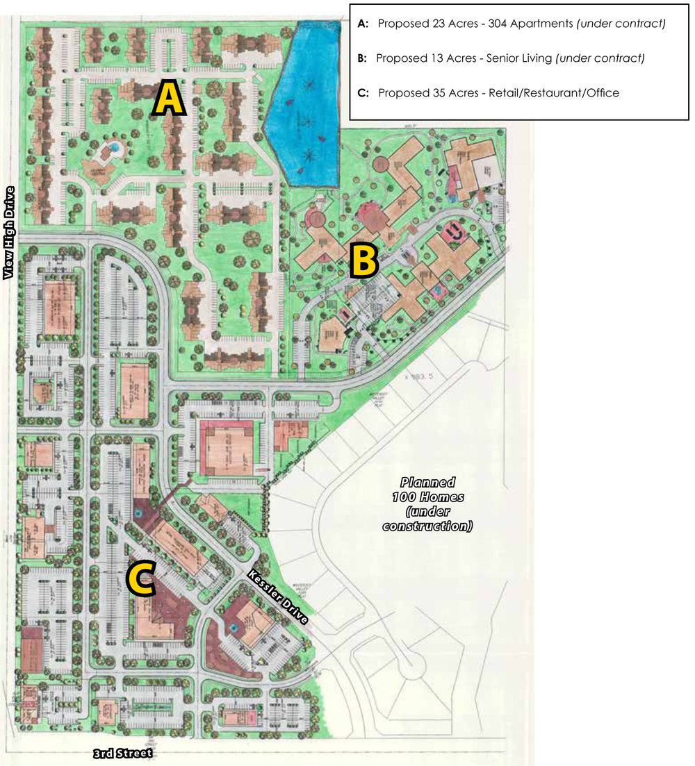 Area A is a 23-acre proposal for 304 apartments, area B is 13 acres of senior living, and area C is a proposed 35 acres of retail, restaurant, and office space. Click the image to enlarge.