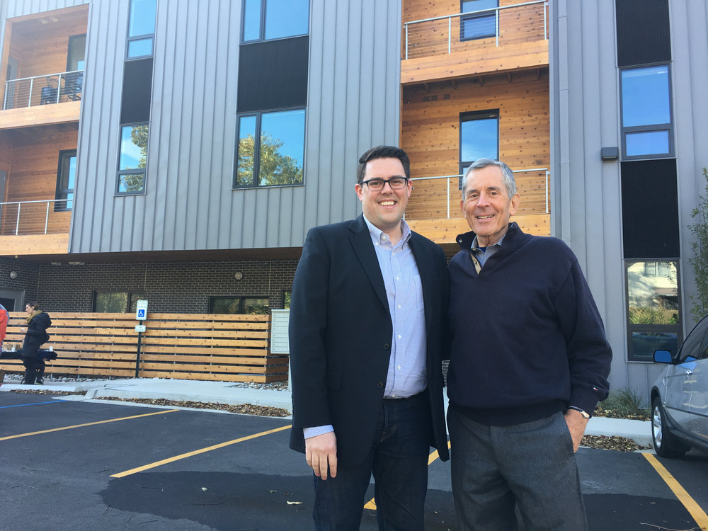 Eric Linebarger, architect at HOK, and John Hoffman, developer and partner at UC-B Properties, officially opened 63Brookside Friday morning. The new multifamily building is the first in Brookside in more than 40 years.
