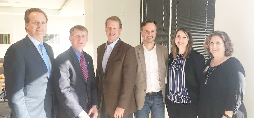 (L to R): Fred Merrill Jr. of Merrill Companies, Eric Bosch of the City of KCMO, David Brain of Kansas City Sustainable Development Partners, Doug Stockman of el dorado architects, Ashley Sadowski of DLR Group and Diane Burnett of Main COR.