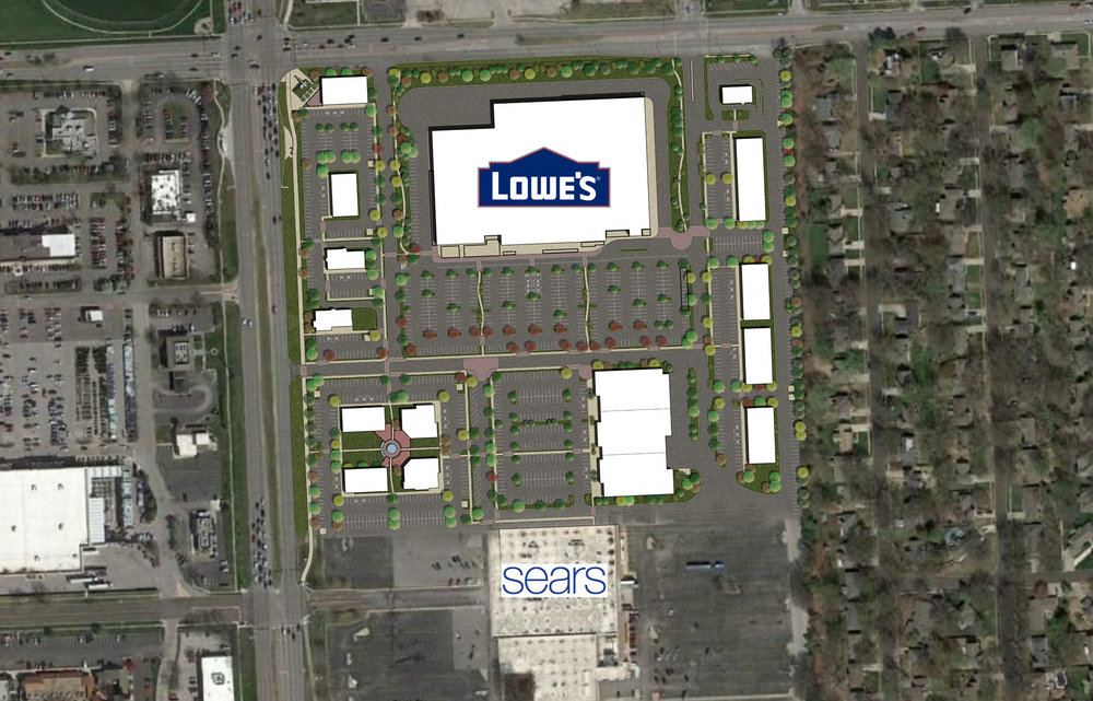 LANE4's revised and newly approved plan for the southeast quadrant of 95th and Metcalf features Lowe's as the anchor tenant surrounded by 13 smaller shops and restaurants.