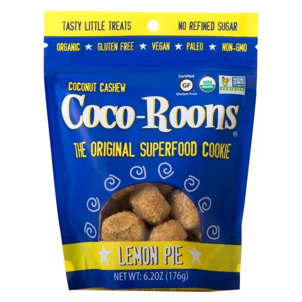 Coco-Roons - There are lots of varieties to choose from but we are partial to the Lemon Pie and Cacao Nib ones... and we recommend putting them in the freezer. Each has a base of dried, unsweetened coconut, cashew flour, coconut nectar, maple syrup, coconut oil, and Himalayan sea salt, plus the ingredients that give each their different flavor. We love this snippet we found on their website: