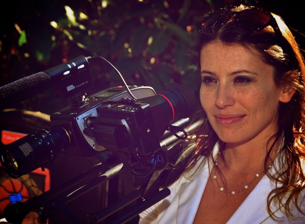 Producer Laura Boersma on set with a Digital Bolex.