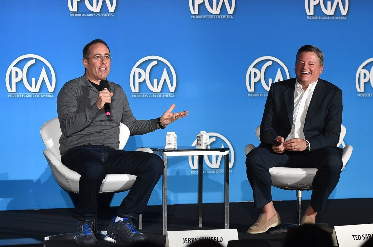 Jerry Seinfeld and Ted Sarandos attend the 9th annual Produced By Conference at Twentieth Century Fox on Saturday, June 10, 2017 in Los Angeles. Photograph by Jordan Strauss/Invision for Producers Guild of America/AP Images