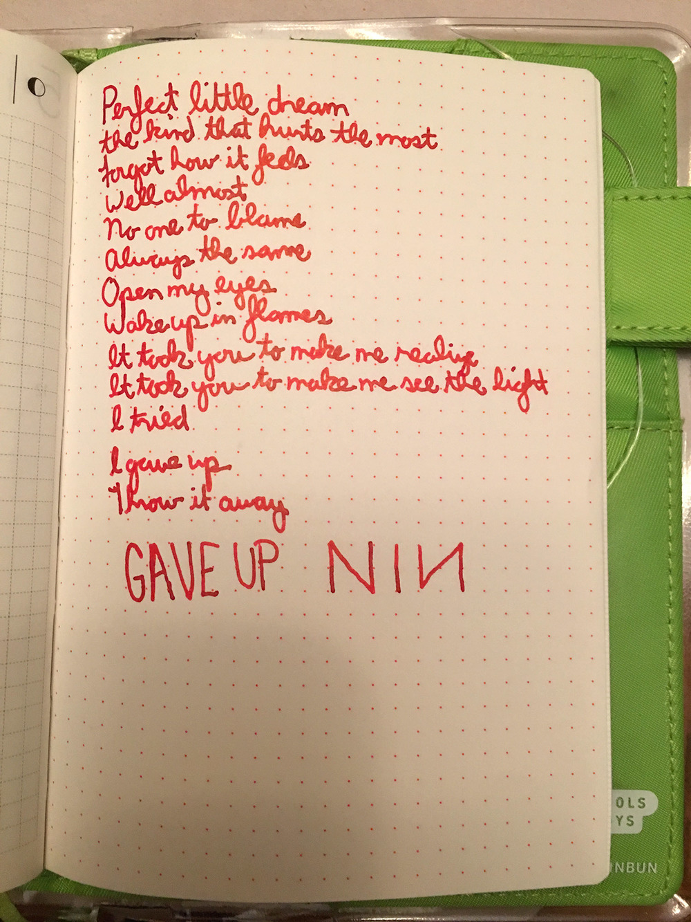 The last thing I will probably write in my Hobonichi.