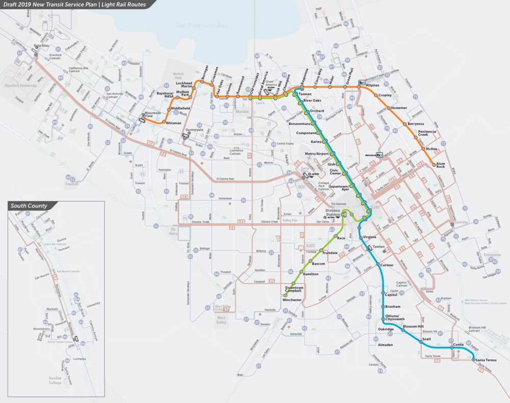 PDF:  Proposed Light Rail Routes Map  | PDF:  Downtown San Jose Map