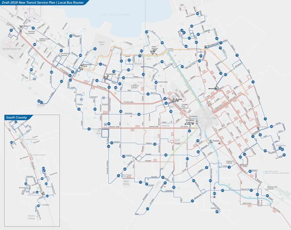 PDF:  Đề xuất với Bản đồ Tuyến Xe buýt Địa phương  | PDF:  Bản đồ Trung tâm Thành phố San Jose