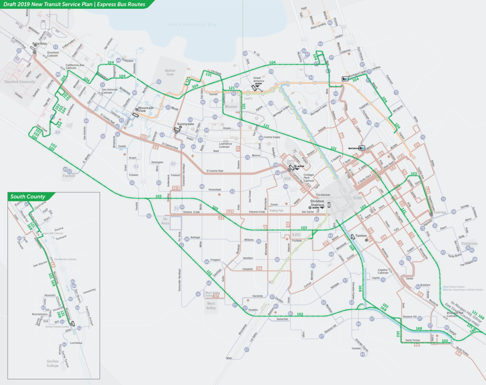 PDF:  Proposed Express Bus Routes Map  | PDF:  Downtown San Jose Map