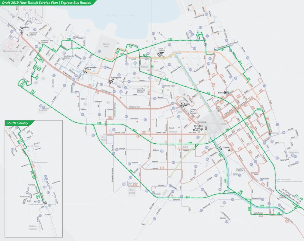 PDF:  Mapa de rutas propuestas de autobuses express  | PDF:  Mapa de Downtown San Jose