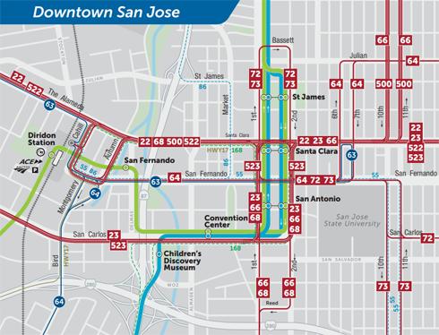 Mapa del nuevo plan preliminar de servicio de transporte público 2019 para Downtown San Jose  (PDF)