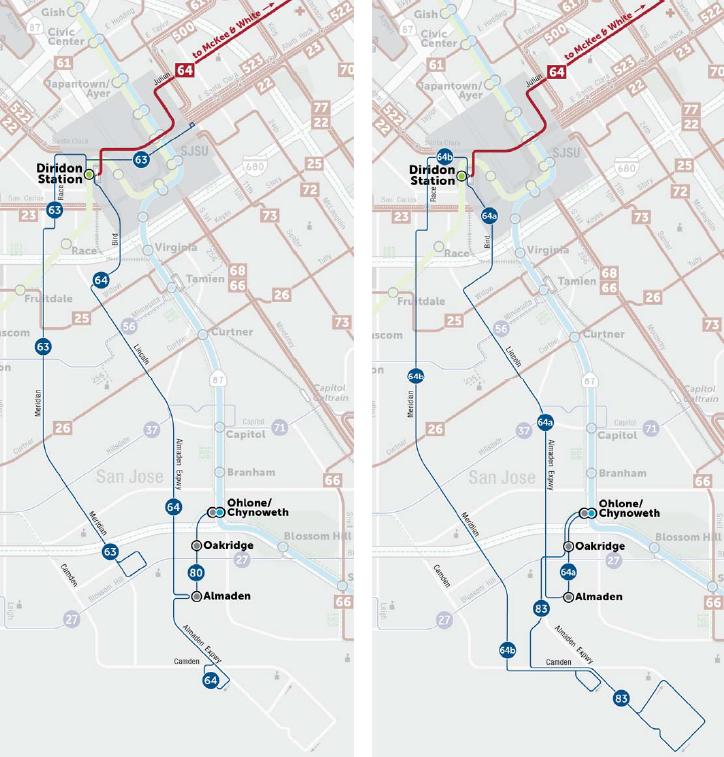 Almaden公共交通服務在計畫草案(左邊)及最後計畫(右邊)的情況