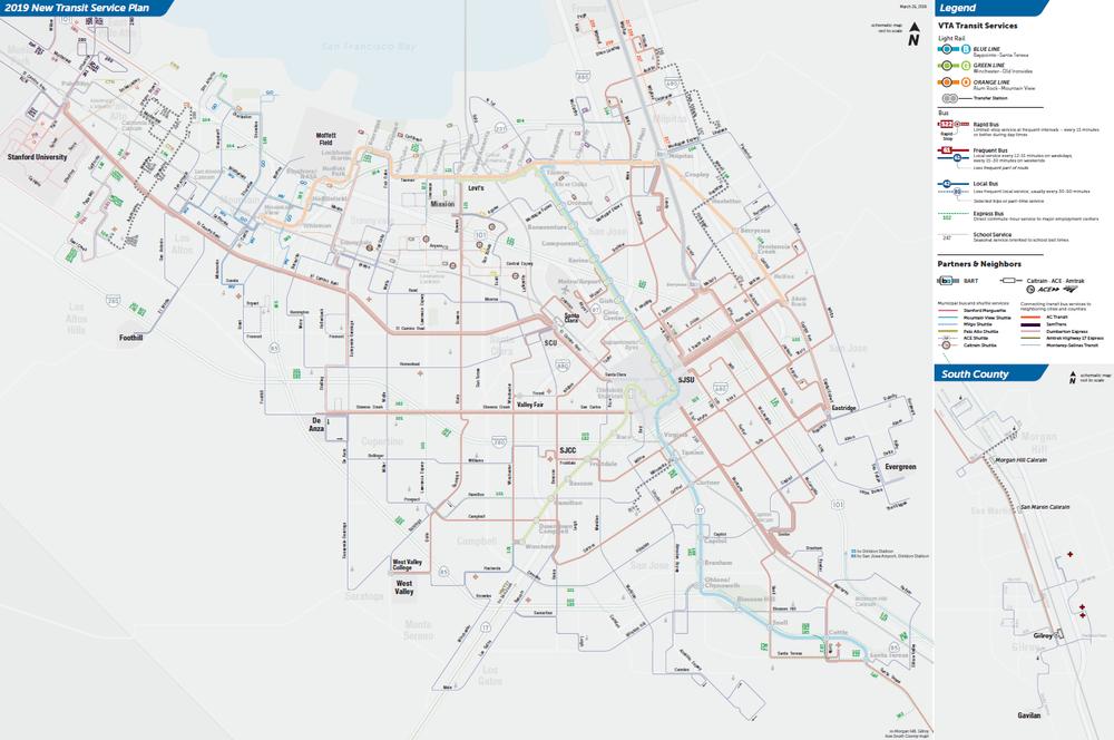 Mapa ng mga Rutang Madalas Gamitin ng Papunta sa Paaralan sa Final na 2019 New Transit Service Plan ng VTA  (PDF)